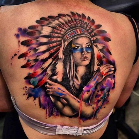 native american girl tattoo american on back jackson may