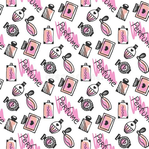 doodlebug fragrance perfume seamless pattern doodle sketch of perfume bottles