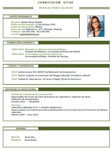Modelo Curriculum Vitae Ingeniero Agronomo Cv De Qu 237 Mico F 237 Sico Ciencias Biologo Agronomo Matematico 010 Cvexpres