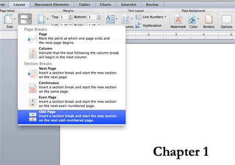 word section how to use odd section breaks to format your book in word
