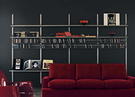 Kaos Style Mr bookcase with metal frame and glass shelves kaos driade