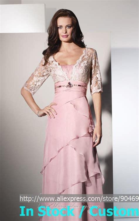Dresslong Dressgamis 4 layered 3 4 lace sleeves of the dress pink blush chiffon evening dress