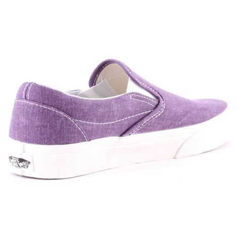 vans washed slip on womens shoes in purple
