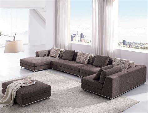 Livingroom Sectional Modern Living Room With Brown Sofa Furniture And Ottoman