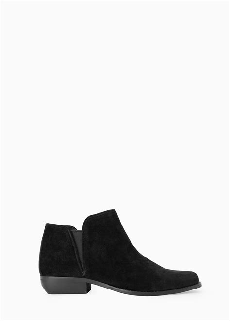 mango flat suede ankle boots in black lyst