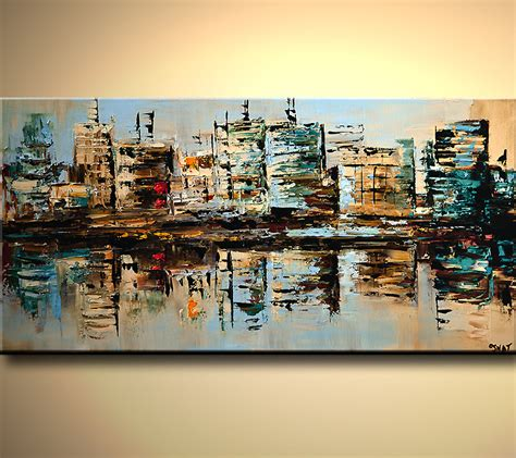 building painting cityscape painting city buildings reflected in water 6080