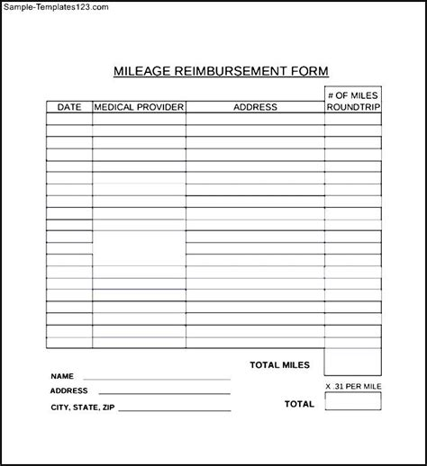 mileage reimbursement form sle templates