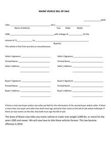 free maine bill of sale forms pdf eforms free