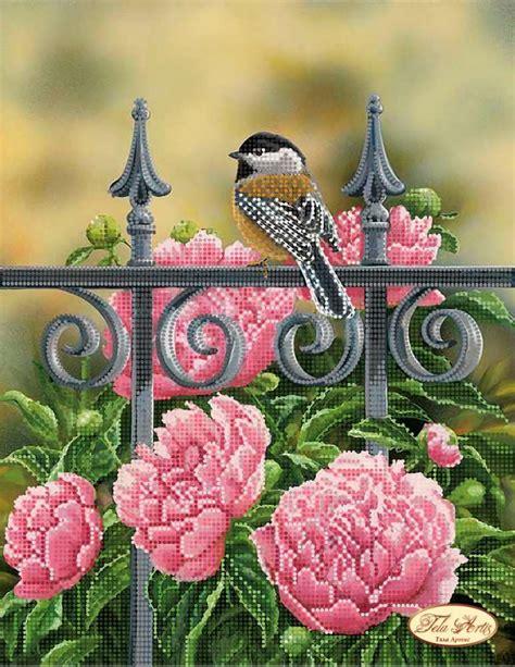 nel parco uccellino nel parco peonie schema ricamo a perline