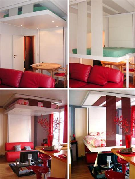 transforming bed floating to sleep hanging hideaway loft bed design