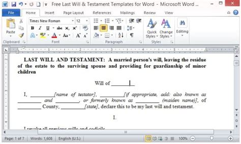 Microsoft Word Will Template free last will and testament template for word