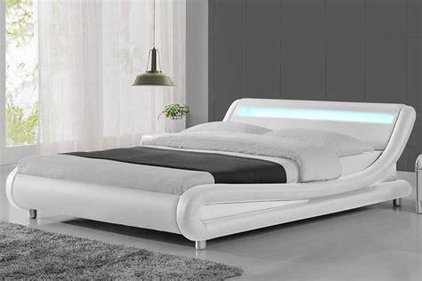 bed frame with led lights madrid led lights modern designer bed white faux leather