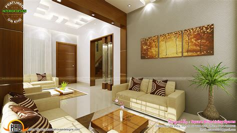 Home Interior Desing Contemporary Kitchen Dining And Living Room Kerala Home