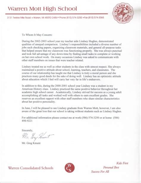 Recommendation Letter Senior Year Kment Letter Lindsay Maes Teaching Portfolio