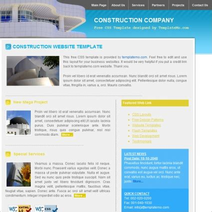 company portfolio template doc construction free website templates in css html js