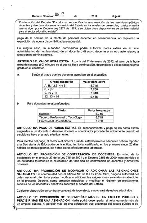 tabla salarial docentes decreto 2277 2016 hora extra docentes 2277 decreto salarial 2012 docentes 2277