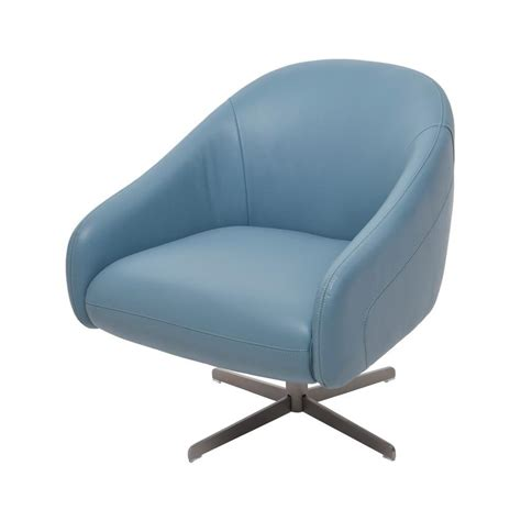 Blue Leather Swivel Chair by Brookville Blue Leather Swivel Chair El Dorado Furniture