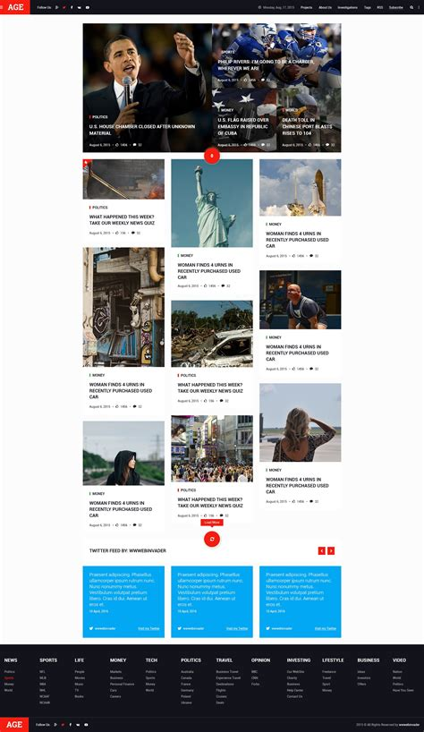 layout blog psd age material design magazine blog psd template by