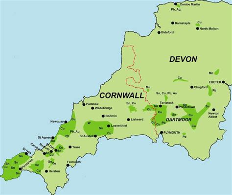 map uk cornwall cornwall mines northern mine research society