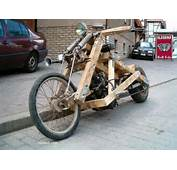 Funny Motorcycle Made Of Wood  Hillbilly Or Redneck Pics And