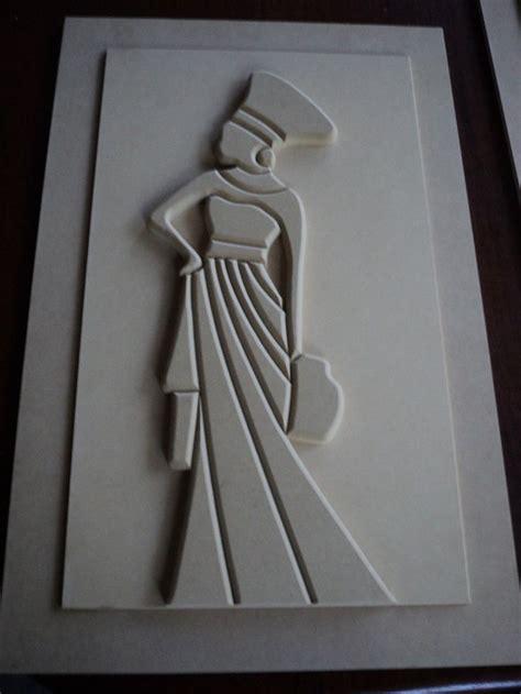 cuadro de africana en relieve de fibrofacil sin pintar