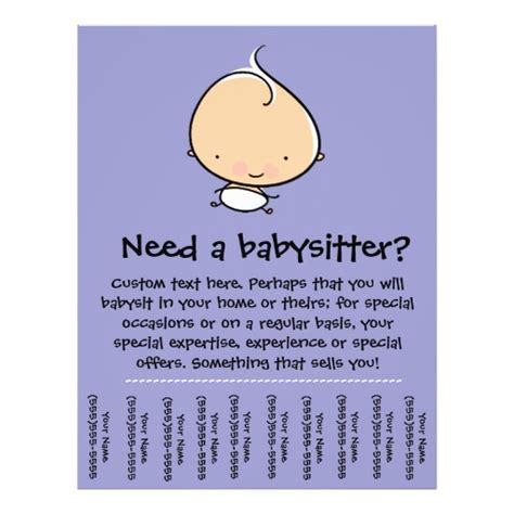 babysitting flyer template babysitting flyer templates babysitting promotional flyers