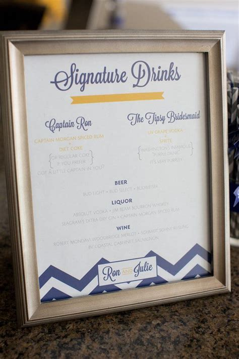 custom signature drink menu for your wedding two 8 quot x10