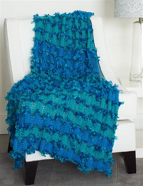 bernat afghan knitting patterns bernat loopy waves afghan knit pattern yarnspirations