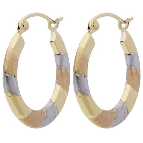 Tri Color Sapphire 4 95 Ct 9ct tri colour jigsaw pattern hoop earrings d17 5940 mc