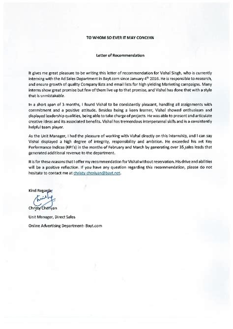 Sle Of Recommendation Letter For On The Letter Of Recommendation By Unit Manager Direct Sales