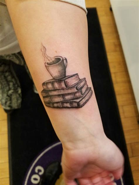 stack of books tattoo my stack of books with a cup of coffee
