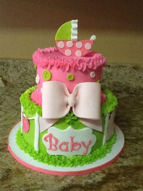 Pink And Lime Green Baby Shower by Lime Green And Pink Baby Shower Cake Cakes By Tara