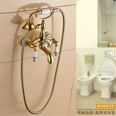 Gold Plated Bathroom Fixtures Fashion Gold Plated Shower Set Copper Faucet Blue And White Porcelain Shower Telephone Shape