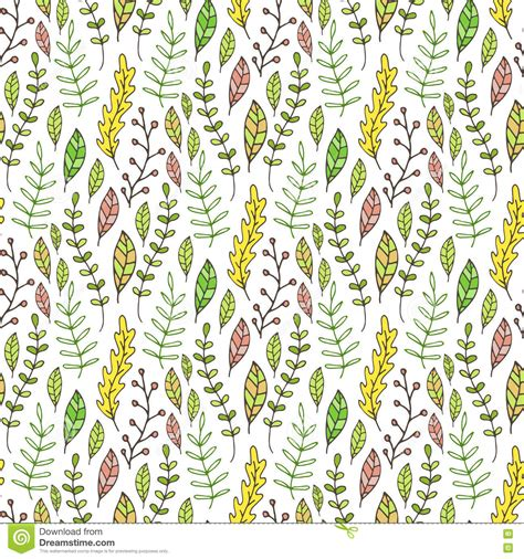 seamless pattern nature leaves and branches seamless pattern hand drawn nature