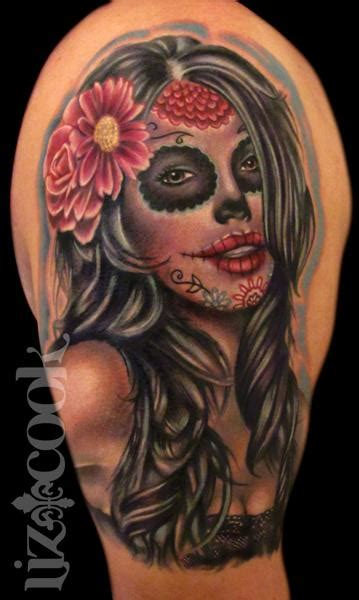 dia de muertos tattoo liz cook tattoos part arm sleeve dia de