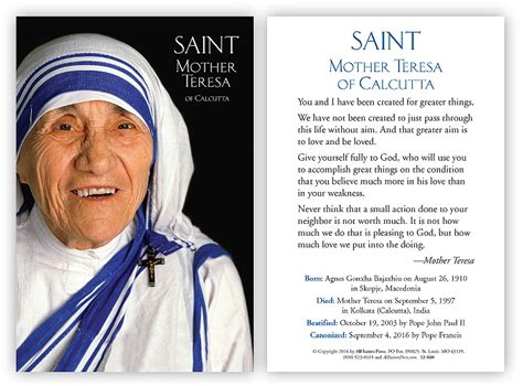 simple biography of mother teresa mother teresa prayer card spanish