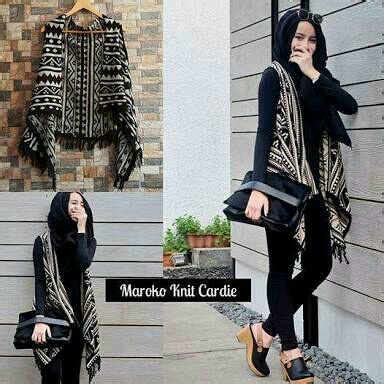 Etnik Vest outer morocco vest rajut terbaru busana wanita motif
