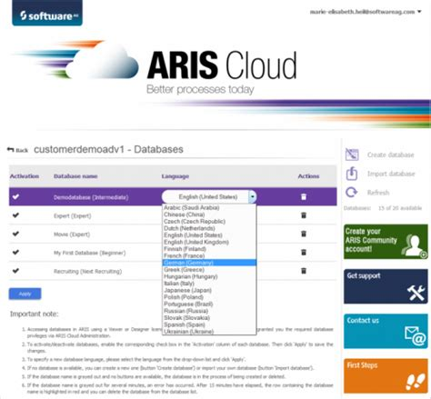 yii2 multi language tutorial new design features for all editions of aris cloud 9 8