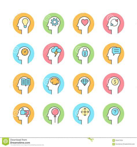 design thinking icon human mind brainstorming thinking line flat icon stock
