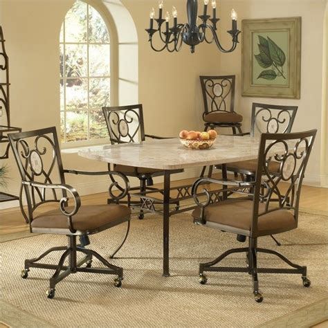 Caster Chairs Dining Set Hillsdale Brookside 5 Dining Set With Oval Caster Chairs 4815dtbcovc