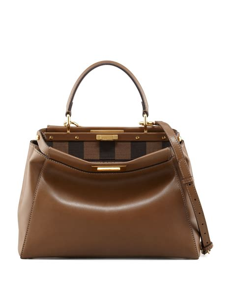 Fendis Fendi To You Large Satchel by Fendi Peekaboo Pequin Lined Medium Satchel Bag In Brown Lyst