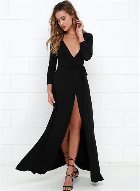 Dres V s v neck sleeve slit maxi dresses