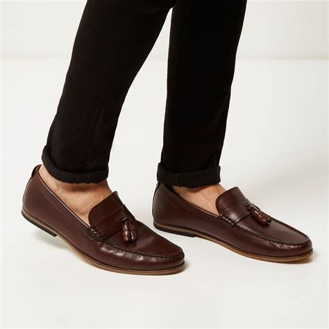 Sepatu Boots Island Slip On Brown lyst river island brown leather tassel loafers in brown for