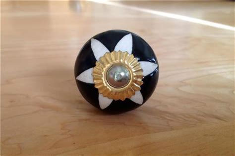 black and white porcelain etched cabinet knobs