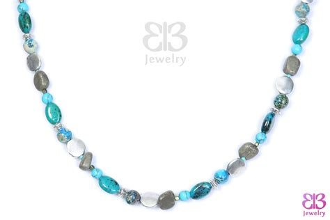Handcrafted Silver Bracelets - handcrafted necklace with silver and turquoise