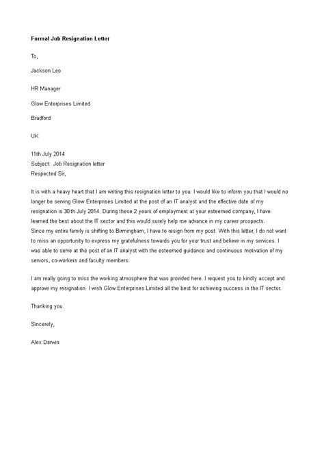 heartfelt job resignation letter templates