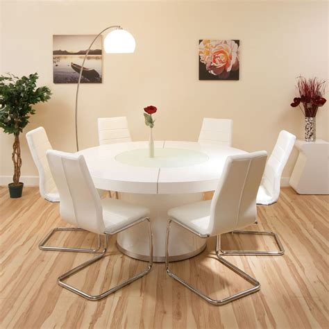 Dining Room Table With Lazy Susan by Large Round Dining Set White Gloss Table 6 White Chairs