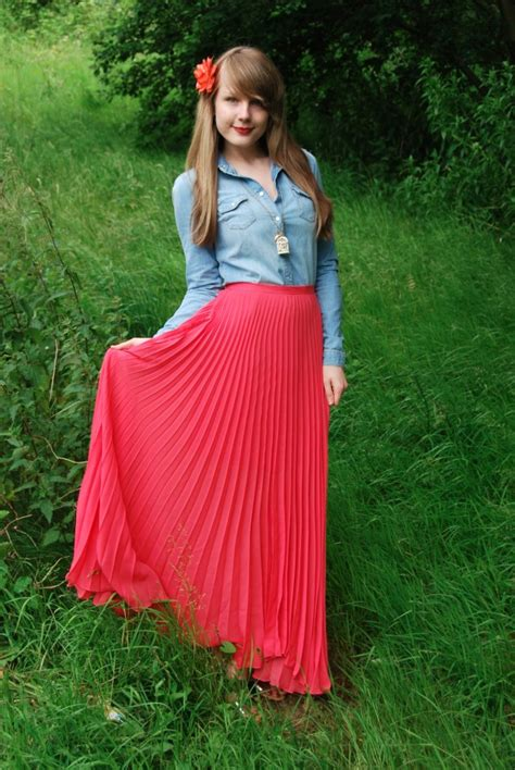 pink maxi skirts denim shirts raindrops of sapphire