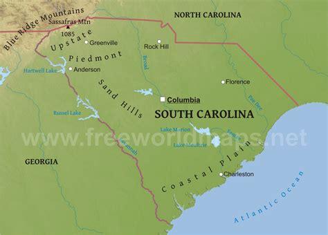 united states map south carolina physical map of south carolina