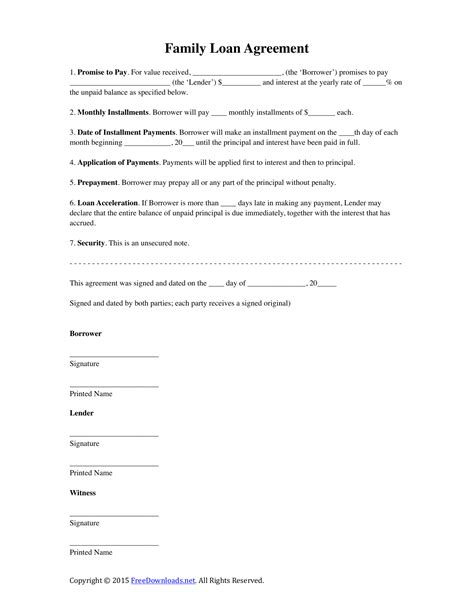 family loan agreement template  rtf word